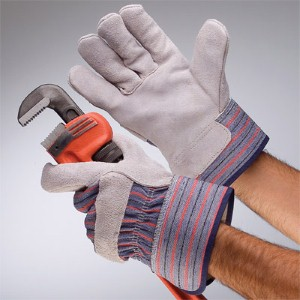 Do heavy-duty work with NS® standard leather palm work gloves with safety cuff