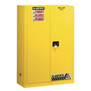 Safely store flammable liquids in a 90-gallon Justrite Sure-Grip® EX cabinet