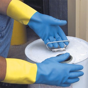 Latex gloves help protect workers from a variety of chemicals