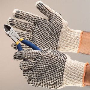 Hand protection with plastic dots gives workers a steady grip for added safety