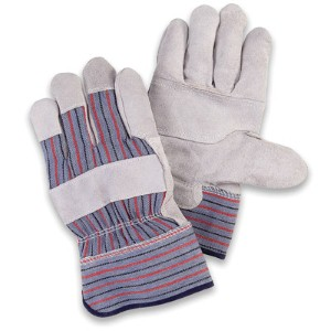 Patch palm leather work gloves offer economical protection