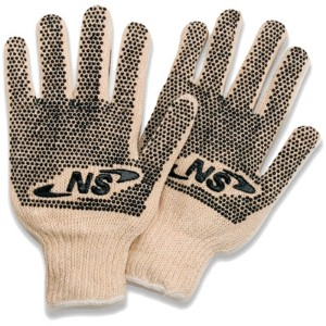 Plastic dot string knit gloves an economical option to protect workers' hands