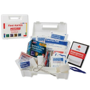 A compact, portable first aid kit