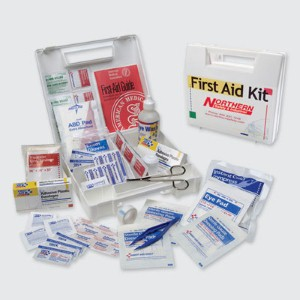 A Northern Safety #25 Person First Aid Kit provides safety on the go